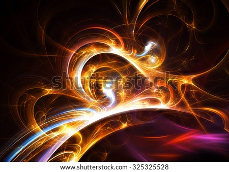 Bright color glowing smoke. Abstract futuristic background with lighting effect for creative graphic design. Shiny golden template. Fractal artwork