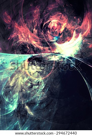 Bright color glowing smoke on black. Abstract futuristic background with lighting effect for creative graphic design. Shiny template for wallpaper desktop, poster, cover, flyer. Fractal artwork - stock photo