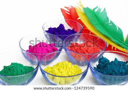 Bright color gulal for holi festival - stock photo