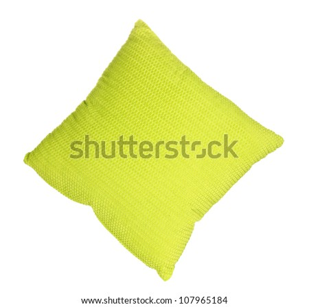 Bright color pillow isolated on white - stock photo