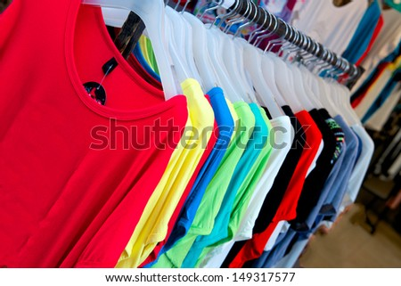 bright color t-shirts in store