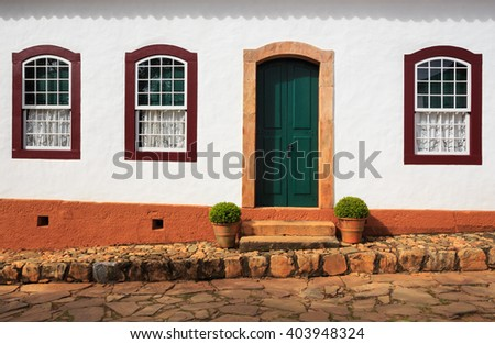 bright colored facade of traditional brazilian rural house at Brazil - stock photo