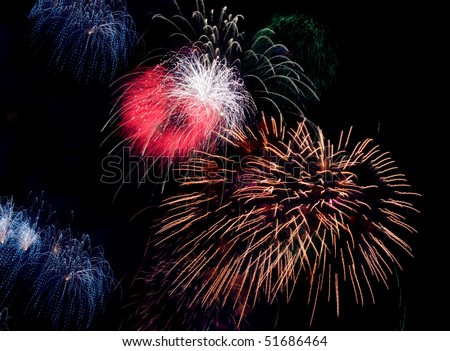 bright colored firework on black night sky