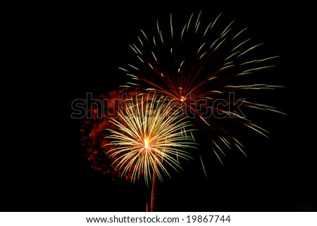 bright colored fireworks on black background
