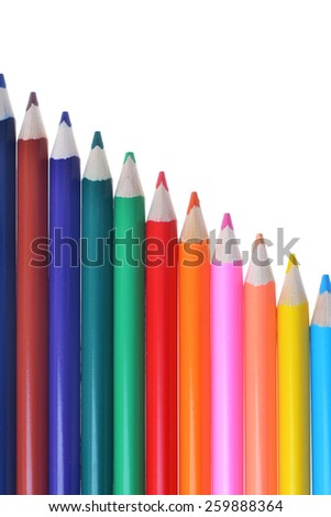 bright colored pencils isolated on white background - stock photo