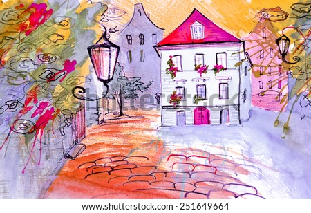 Bright colored summer landscape with lantern and blue house watercolor illustration paper painting poster artwork