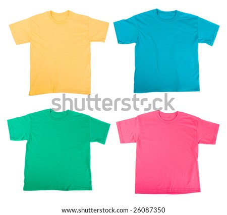 bright colored Tee Shirts isolated on white