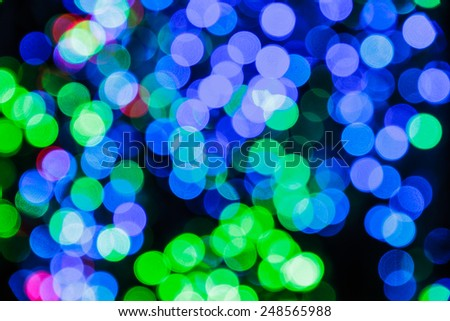 Bright Colorful Blue and Green bokeh, abstract background. - stock photo