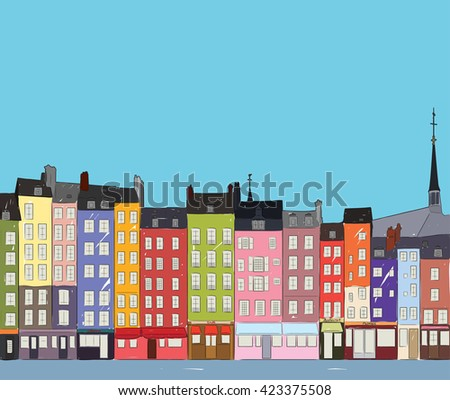 Bright colorful city houses of Honfleur near the river. Hand-drawn sketch. Flat design. - stock photo