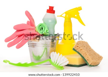 Bright colorful cleaning set on a white background - stock photo