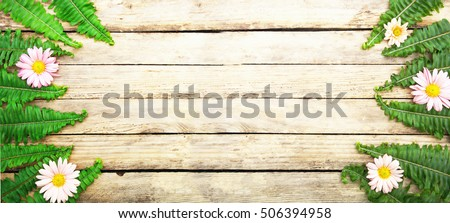 Bright colorful flowers on wooden texture.