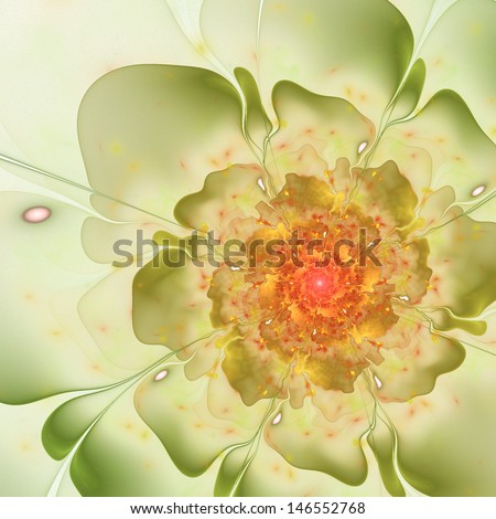 Bright colorful fractal flower, digital artwork for creative graphic design - stock photo