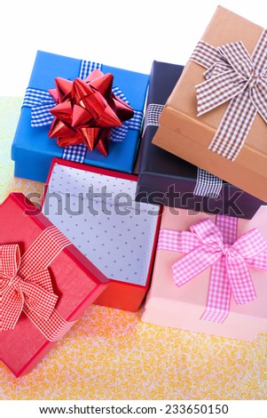 bright colorful gift boxes closeup