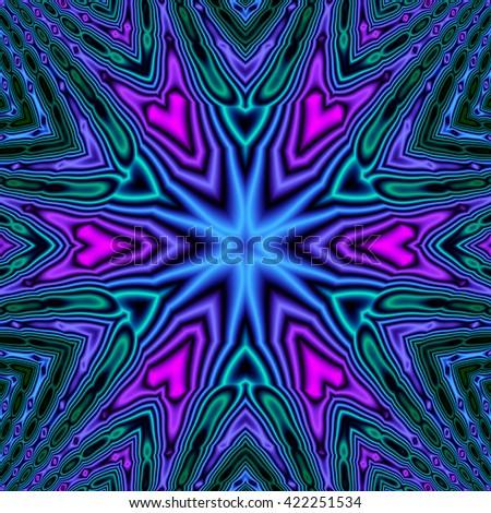 Bright colorful kaleidoscopic fractal pattern background with satin effect. Fractal mandala. - stock photo