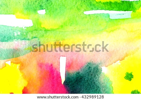 Bright colorful macro watercolor background with paper texture grains, paint stains and splashes. Image of wet stripe strokes. Artistic technique illustration. Hand made backdrop art for print, card