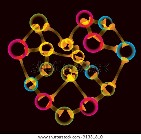 Bright colorful molecule heart over black, Valentine's background