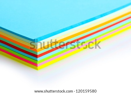 bright colorful paper isolated on white - stock photo