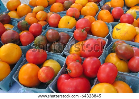 Bright colorful tomatoes from a Farmer's Market