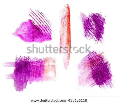 Bright colorful watercolor pencil  hand drawn strokes red purple background