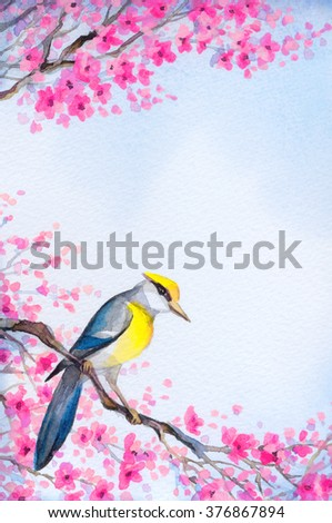 Bright colorful watercolour on paper backdrop in Japan sketch style with space for text on white sky. Cute golden american parus major oriolus on old sprout of lush pink scarlet flowery orchard yard - stock photo