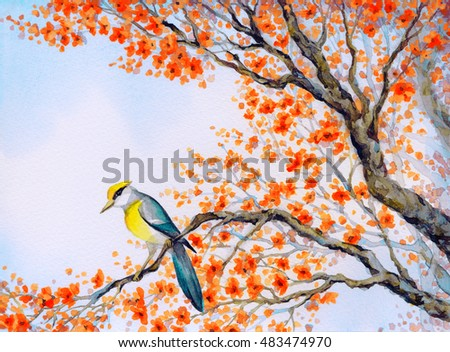 Bright colorful watercolour on paper backdrop in Japan sketch style with space for text on white sky. Cute golden american parus major oriolus on old sprout of lush pink scarlet flowery orchard yard