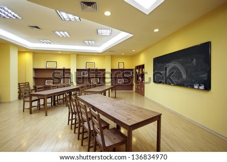 Bright colors and clean classroom - stock photo
