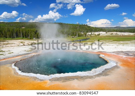 Bright colors Crested Pool in Yellowstone National Park of Wyoming