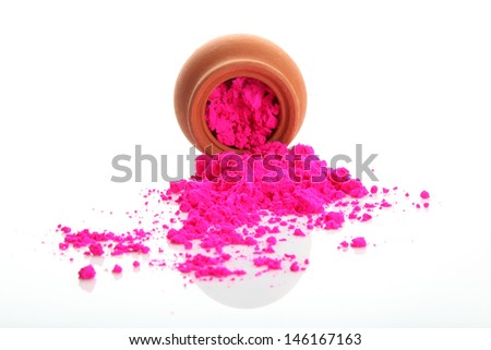 Bright colour for holi festival with one bowl