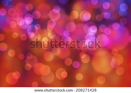 Bright coloured Bokeh effect background in different shapes - stock photo