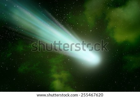 Bright comet with large on the space. - stock photo