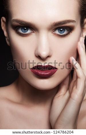 Bright cosmetic girl - stock photo
