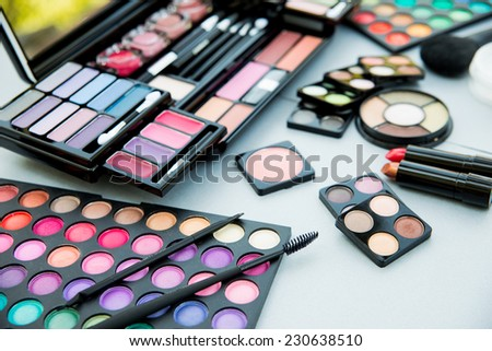 Bright cosmetic things for the best make-up  - stock photo