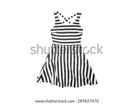 bright cotton  women Summer dress with black and white stripes isolated on white background - stock photo