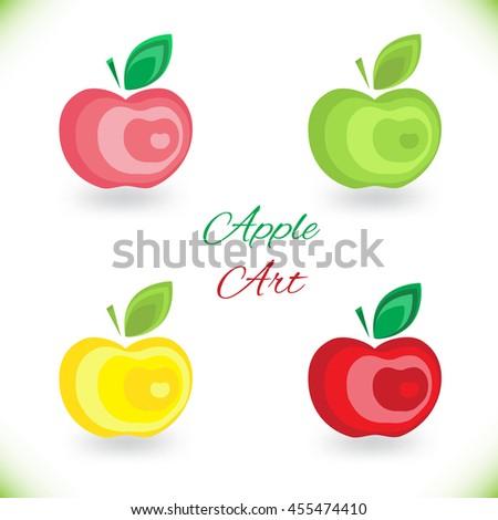 Bright creative juicy, ripe, delicious red apple. Raster copy. - stock photo