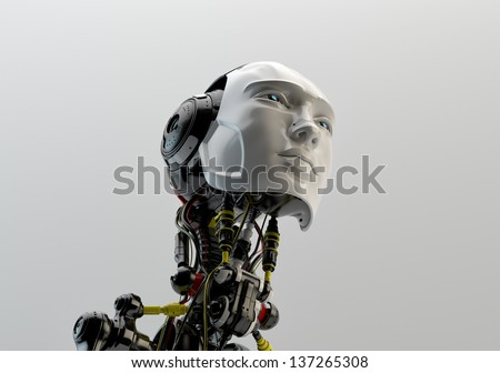 Bright cyber man with opened neck system / Fashion artificial model - stock photo
