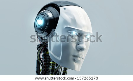 Bright cyber man with opened neck system/ Lighting robot - stock photo