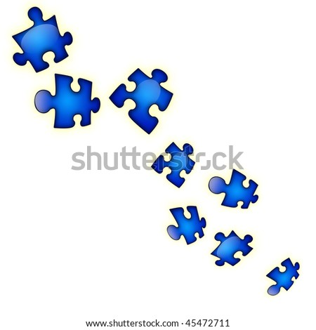 Bright dark blue puzzles on a white background