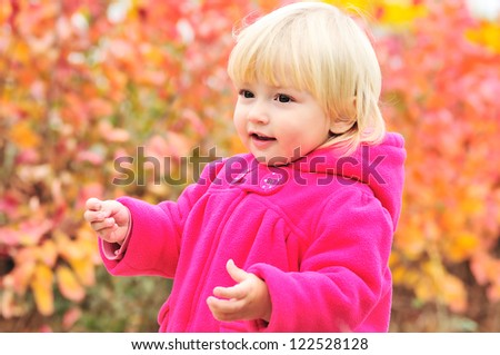 bright day of toddler girl - stock photo