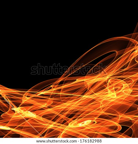 Bright digital abstract fire on black background