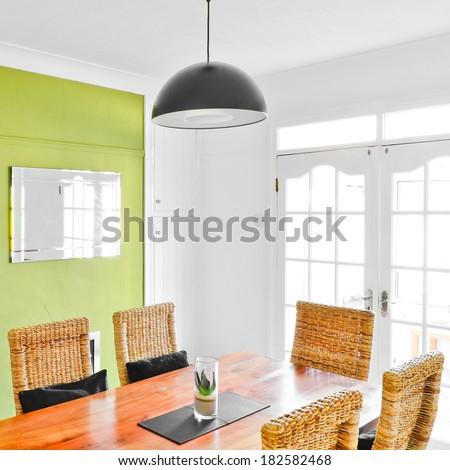 Bright dining room interior - stock photo