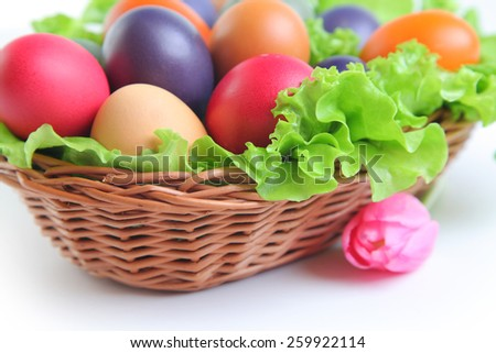 bright easter eggs on white background