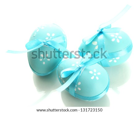 Bright easter eggs with bows, isolated on white - stock photo