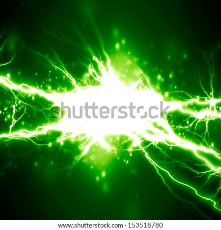 bright electrical spark on a dark green background - stock photo