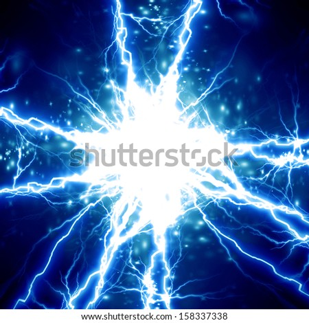 bright electrical sparks on a dark blue background - stock photo