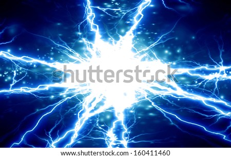 bright electrical sparks on a dark blue background