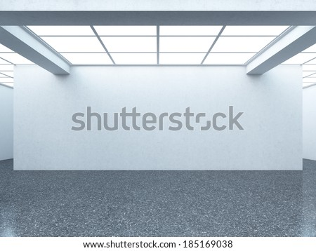 Bright empty gallery interior with white wall - stock photo