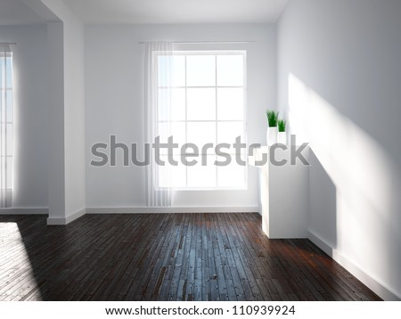 bright empty interior - stock photo