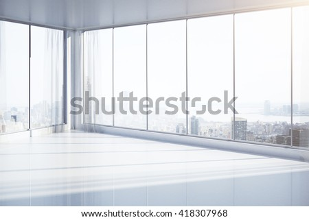 Bright, empty interior with panoramic windows and New York city view. 3D Rendering - stock photo
