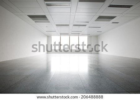 Bright empty office building interior - stock photo