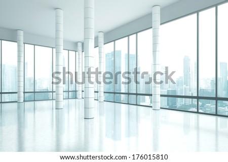 Bright empty office interior - stock photo